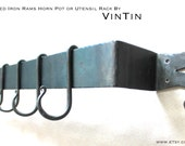Hand Forged Iron Rams Horn Ends Hammered-Style Pot or Utensil Rack and Hooks by VinTin