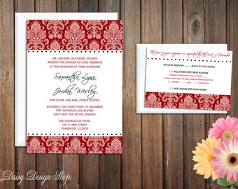 Wedding Invitation - Damask in Red and White - Invitation and RSVP Card with Envelopes