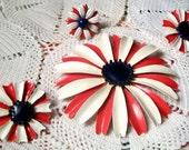 Vintage ENAMEL SET, Red/White/Blue 4 Piece Flower Set, Fabulous 1960's Era Patriotic Jewelry, 4th Of July, Coro