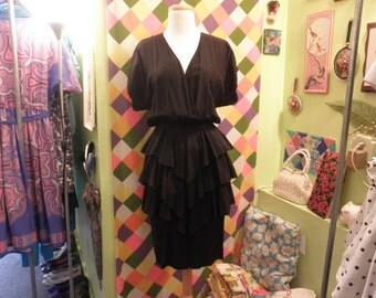 80s black disco peplum ruffle dress 1980s wrap top tiered skirt bustle sexy silky pin up squid tail button back cocktail dress small S