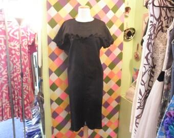 80s avant garde black linen hobble dress 1980s leaf applique goth button back triangle sack pencil dress size small medium