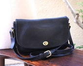 Vintage Coach City Bag, Black Leather, Large Basic Shoulder Bag, 1980s Classic Large Cross Body Coach Purse, Made in the United States