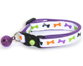 Halloween Cat Collar - Skeleton Bones - Small Cat/ Kitten Size or Large(standard) Size Collar