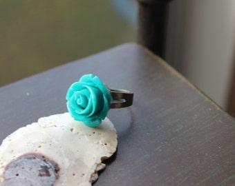 Rockabilly Romance Teal Blue Rose Ring