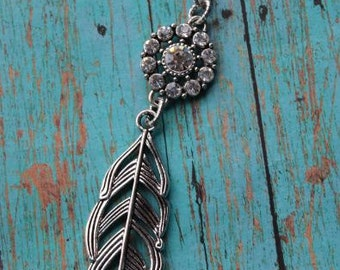 Boho Sparkle Feather Pendant