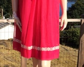 Vintage 1960s CHERRY Pink BABY Doll Night Gown M L