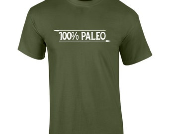 100% Paleo T-Shirt - FREE Shipping - Paleo Diet Primal Ancestral Health Caveman Natural Movement Functional Fitness Gym Clothing - UK Seller
