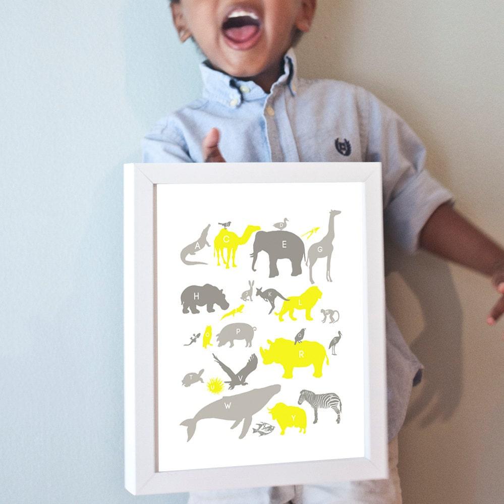 Alphabet Animals Print in Grays and Yellow