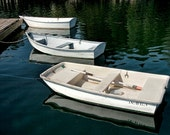 Three Row Boats docked on a lake in Maine - A Boat Seascape Photograph