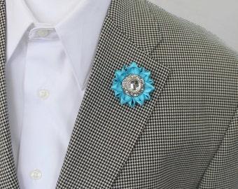 Turquoise Lapel Flower Pin, Custom Lapel Pin, Turquoise Boutonniere, Aqua Lapel Flower for Men, Mens Lapel Flower, Custom Color Flower Pin