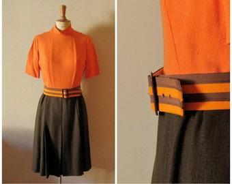 vintage 1960s linen bicolor day dress / 60s Natan dress