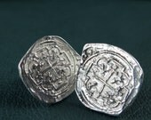 Cufflinks - Sterling Silver Piece of Eight  - Free Domestic Shipping to US