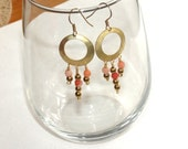 Spring SALE: Coral and gold dangling Earrings - Anniversary, Birthday,  Graduation - fast shipping