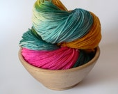 Handpainted Fingering Weight Superwash Merino Nylon Sock Yarn- Tropical Flower 462 yards