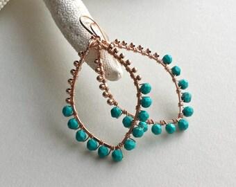 Rose Gold Turquoise Hoops, Turquoise Hoop Earrings, Rose Gold Hoops, Hammered Gold Hoops, Boho Turquoise Hoop Earrings