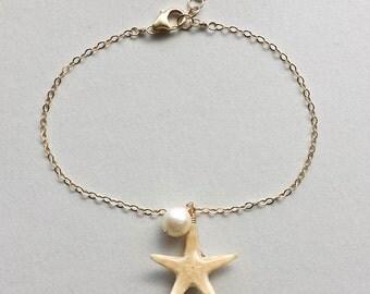 Real Starfish Bracelet, Gold Filled, Beach Charm Anklet, Starfish Anklet, Boho Beach Bracelet, Hawaiian Jewelry, Bohemian, Gypsy