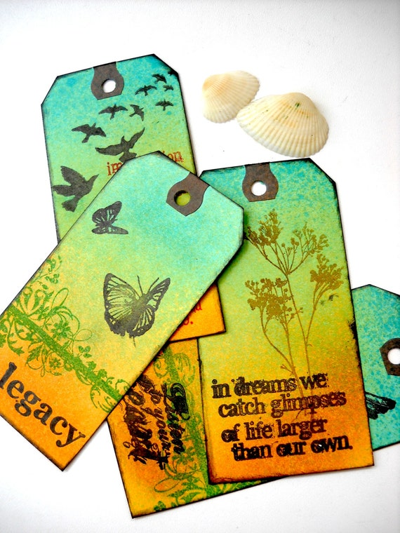 Handmade Nature tags, birds, crows, flowers, butterflies, green, yellow, Quotes