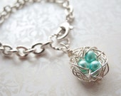 Robin's Egg Blue Petite Bird Nest Charm Bracelet, Three Cultured Freshwater Pearls in a Wire Wrapped Nest Charm