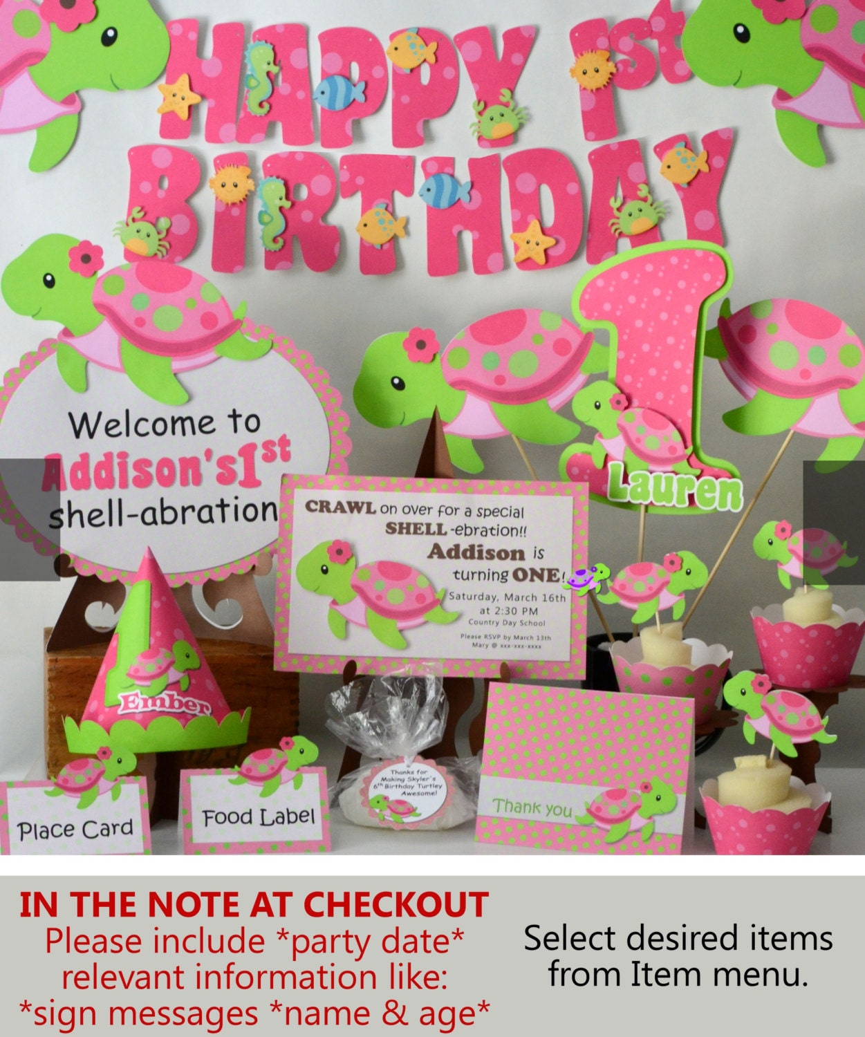 pink girl turtle first birthday party or baby shower zoom