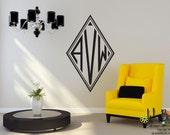 Classic Diamond Monogram - Personalized -  Preppy Vinyl Wall Decal Sticker Art
