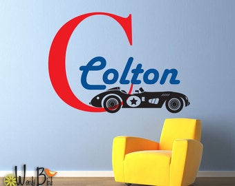 Race Car Name Decal Monogram - Personalized - Vintage style Vinyl Wall Sticker Art for nursery, childrens  room, kids decor