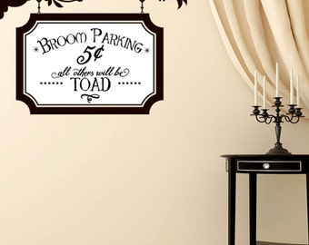 Broom Parking decal - Halloween Decoration - Vinyl Wall Decal Sticker