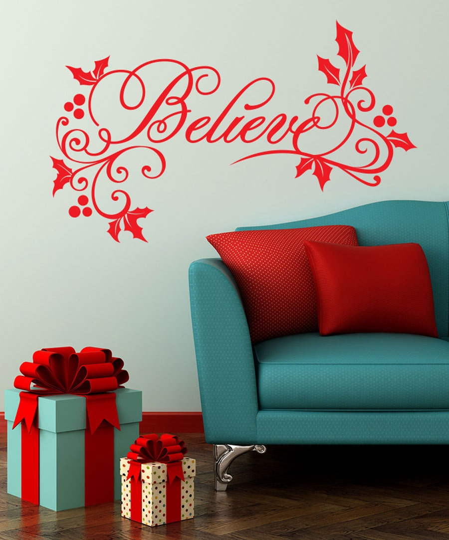 believe wall decal christmas decorations home decor with