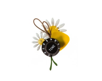Yellow Guitar Boutonniere | Musician | Groom Groomsmen Father of Bride | Daisy Enamel Flowers | Gold Guitar Strings | In Stock 1000569