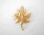 Vintage Monet Wire Leaf Brooch Gold Tone Mid Century Costume Jewelry Textured Excellent Condition GallivantsVintage