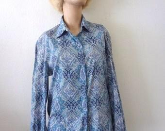 1970s Cotton Shirt / button front paisley print blouse