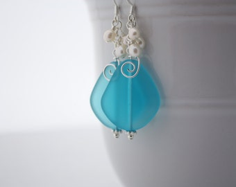 Blue Sea Glass Earrings Seaglass Earrings Sea Glass Jewelry Wedding Earrings Bridal Earrings Bridesmaid Beach Jewelry Seaglass Jewelry 092