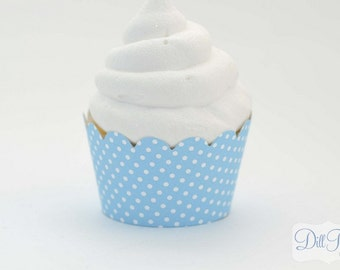Aqua Blue and White Polka dot Cupcake Wrappers -  Set of 24 - Standard Size