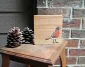Robin Art Block made from Reclaimed Oak Wood