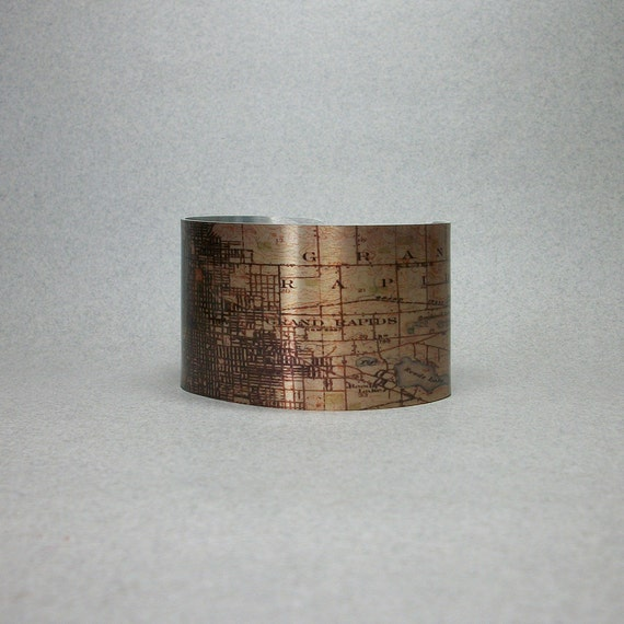 vintage grand rapids michigan map cuff bracelet unique gift