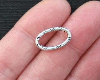 12 Oval Connectors Antique Silver Tone Etched Design Closed Ring - SC2777