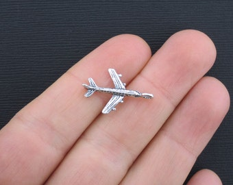 8 Airplane Charms Antique Silver Tone 3D - SC830