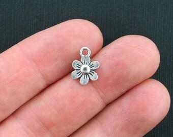 15 Flower Charms Antique Silver Tone Adorable Little Size - SC3513