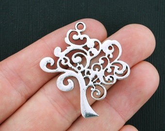 4 Tree Charms Antique Silver Tone - SC3465
