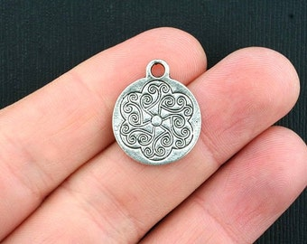 8 Celtic Charms Antique Silver Tone 2 Sided - SC3619
