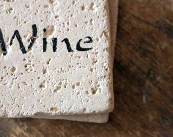 WINE Coaster Set of 2 - Rustic Natural Tumbled Marble - Holiday Home Decor - Christmas Gift for the Wine Lover