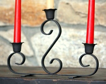 Vintage Wrought Iron Three Arm Candle Holder