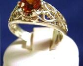 Sparkling Orange/ Red Spessartite Garnet Ring Sterling Silver Scroll pattern handmade fine jewelry unisex size 4 5 6 7 8 9 10 11 half sizes