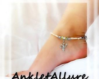 Cranky Girl Prickly Pear Cactus Anklet Southwestern Sand Silver Ankle Bracelet