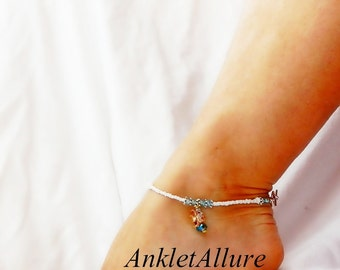 Swim with Angel Fish Anklet Aqua Crystal Cruise Vacation Gold Ankle Bracelet