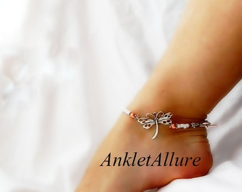 Simple Dragonfly Anklet White Ankle Bracelet Body Jewelry Beach Jewelry