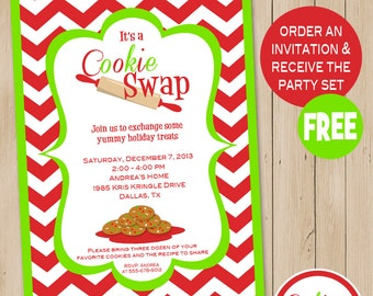 Cookie swap etsy cookie swap party invitation includes free instant download party set cookie exchange christmas pronofoot35fo Choice Image