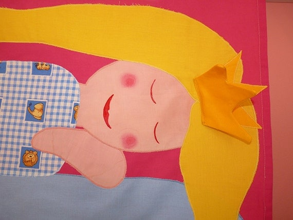 Sleeping Beauty-CURTAIN for GIRL, multi coloured BLIND, handmade textile curtain