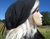 Gray Wool Knit Hat Womens Slouchy Beanies Charcoal Grey Fine Merino Wools A1001
