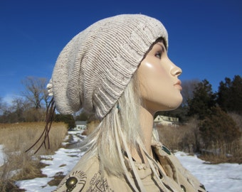 Wool Slouchy Beanie Hat Tan Oatmeal Heather Women's Tam A1305