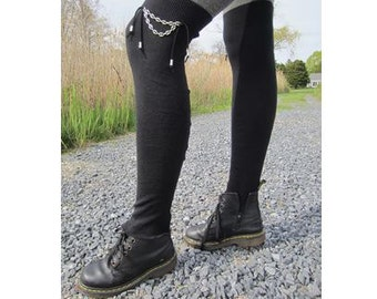 Edgy Black Cashmere Thigh High Socks Over the Knee Socks Leg Warmers A844C
